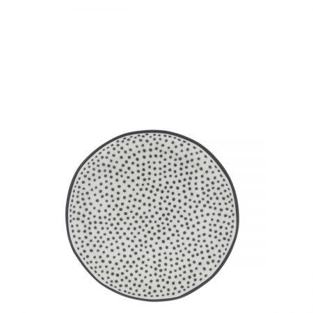 Cake Plate 16cm White/ Little Dots in Black