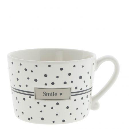 Cup White Dots in Black/ Smile10x8x7 cm