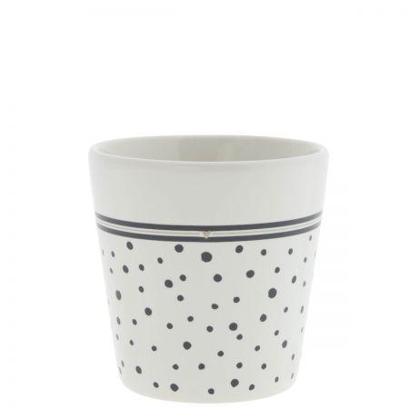 Cup White Dots in Black/ sm heart Titane 9x9x7.5cm
