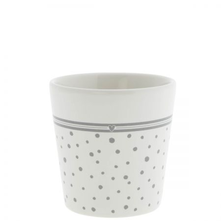 Cup White Dots in Grey/ sm heart Grey 9x9x7.5cm