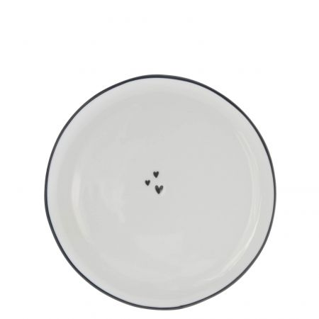 Dessert Plate19cm / 3 little hearts in Black