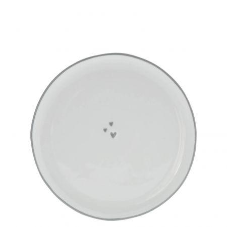 Dessert Plate19cm / 3 little hearts in Grey