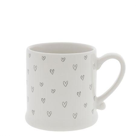 Mug White/Hearts overall in Grey  8x7cm
