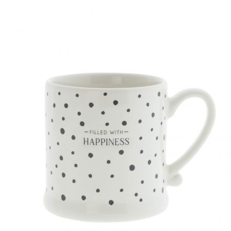 Mug White Dots Black / Happiness 8x7cm