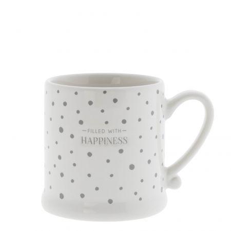 Mug White Dots Grey / Happiness 8x7cm