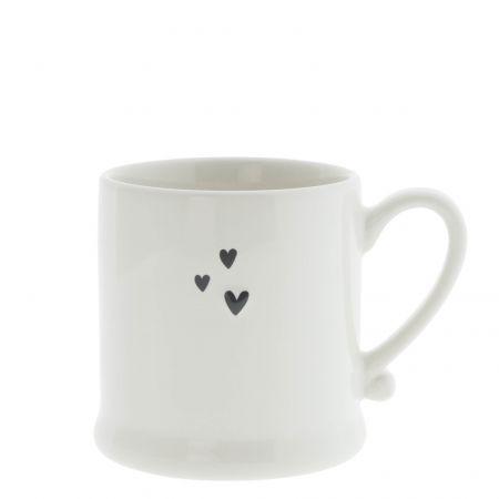 Mug White / 3 sm Hearts Black 8x7cm