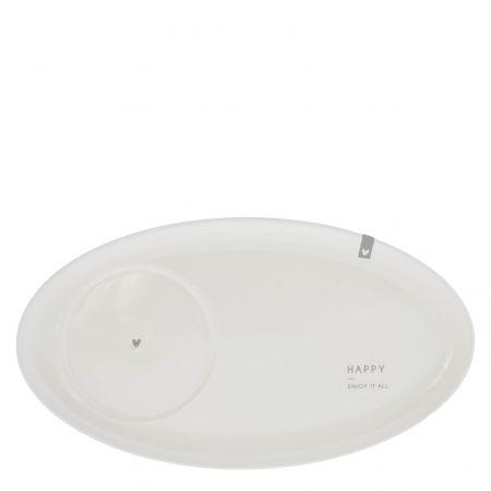 Oval Plate White /Happy enjoy it all  25,5x14,5cm v2