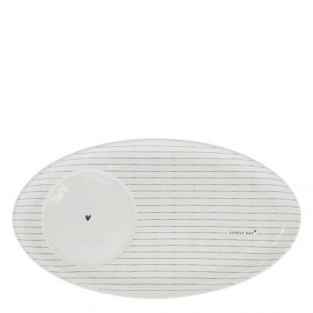 Oval Plate White /Stripes 25,5x14,5cm