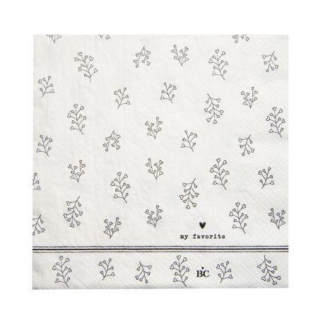 Napkin White/Bl. Flower 20 pcs 16.5x16.5cm