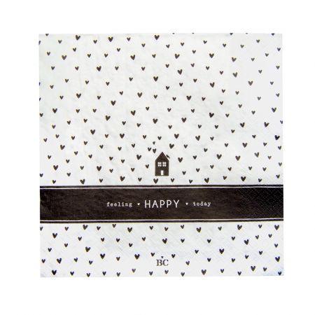 Napkin White/Bl. Hearts Home 20 pcs 12.5x12.5cm