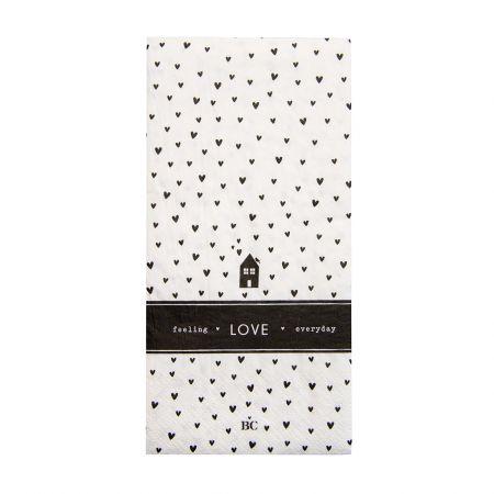 Napkin White/Bl. Hearts Love 16 pcs 10x20cm