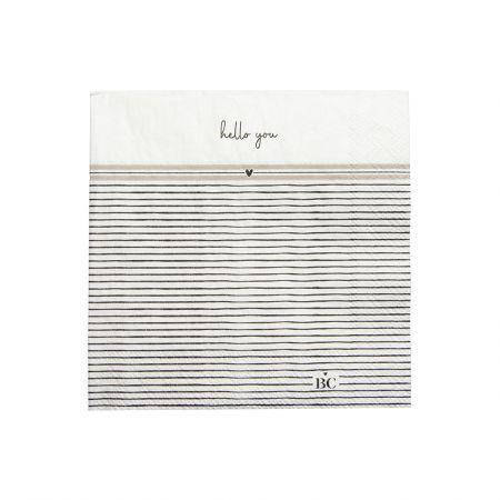 Napkin White/Stripes Hello You 20 pcs 12.5x12.5cm