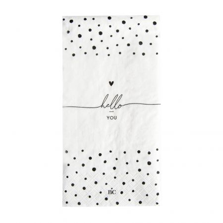 Napkin White/Dots Hello You 16 pcs 10x20cm