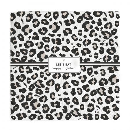 Napkin White/Leopard Let's Eat 20 pcs16,5x16,5cm