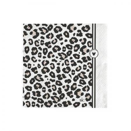 Napkin White/Leopard Heart 20 pcs 12,5x12,5cm
